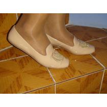 Zapatos Flat De Piel Color Beige Tala 25.5