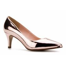 Elegantes Zapatos Zapatillas Andrea Oro Rosa Tacón Bajito