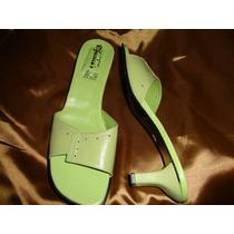 #27½ Sandalias De Piel Para Dama Tipo Sueco Con Tacón Cynld