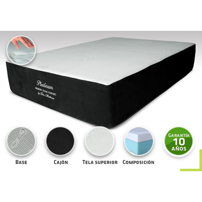 Colchon bio mattress platinum memory foam queen size for Cual es el mejor colchon king size