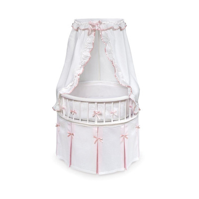 cuna elegante para recien nacidos rosa con blanco