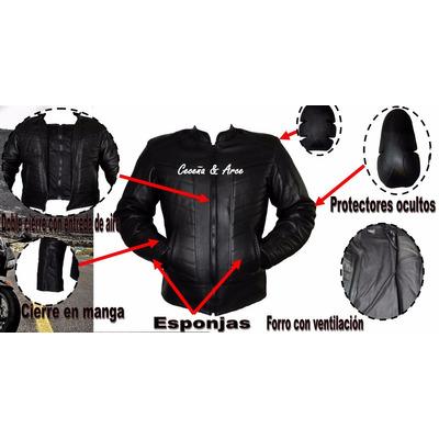 ffb87c954e7 Chamarra Piel Profesional Motociclistas Protecciones Cs13 en venta ...
