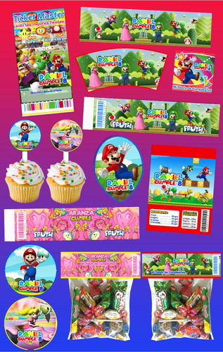 Kit Imprimible Mario Bros Personalizado Mas De 30 Etiquetas