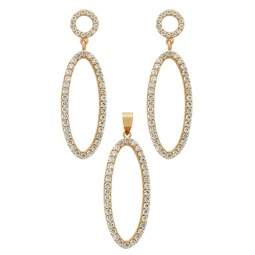 Rose Gold Plated Set: Oval Shaped Outline Cz Pave