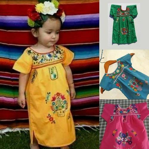 Vestido Niña Bebé Bordado Mexicano Playa Tradicional En