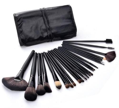24 Brochas De Maquillaje Profesionales, Pelo Natural, Negras