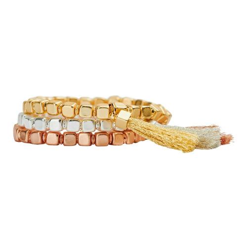 Luckyly Pulseras Mujer Dalia, Set De 3 Oro Rosa, Plata, Oro