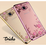 Funda Flores Pedrería Flores Rosa Dorado Galaxy S8 Triche