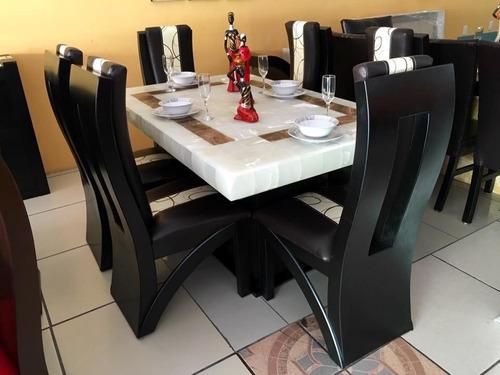 Comedor 6 sillas piedra onix luz led moderno en venta en for Comedores modernos mexico df