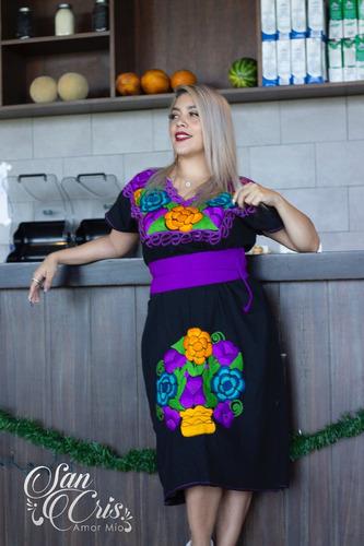 Vestido Bata Largo Bordado Flores Zinacantan Chiapas En