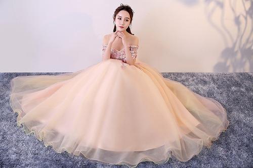 Vestido Quinceanera Princesa Strapless Manga Flores Xv Anos En Venta