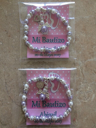 Pulseras Bautizo Nina.Pulsera Recuerdo Baby Shower Bautizo Nina Con Etiqueta En