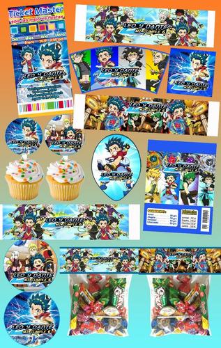 Kit Imprimible Beyblade Personalizado Mas De 30 Etiquetas