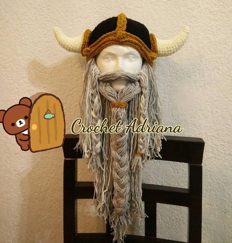 Gorro Vikingo Con Barba Desmontable Crochet Tejido en venta en ... 7f02df54a0f