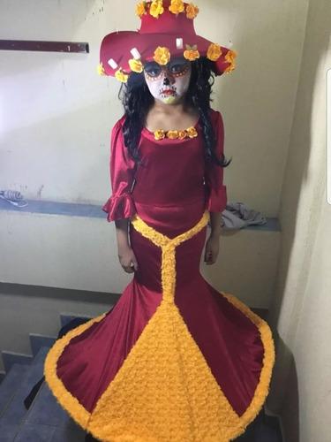 Disfraz Vestido Catrina Niñas Alta Costura Envio Y Sombrero