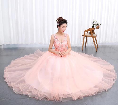 7dce23992a ... comprar Vestido De Xv Años 15 Dulces 16 Color Melón Flores Encajes ...