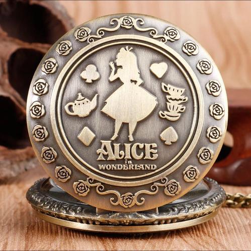 Reloj Bolsillo Vintage Alicia En El País De La Maravillas