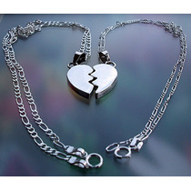 b85f99703e0d Comprar Parejas Cadena Dije 3d Corazón Partido Personalizado Plata