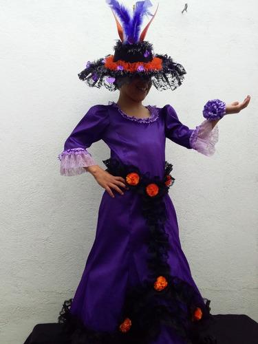Disfraz Traje Catrina De Lujo Halloween Con Sombrero En