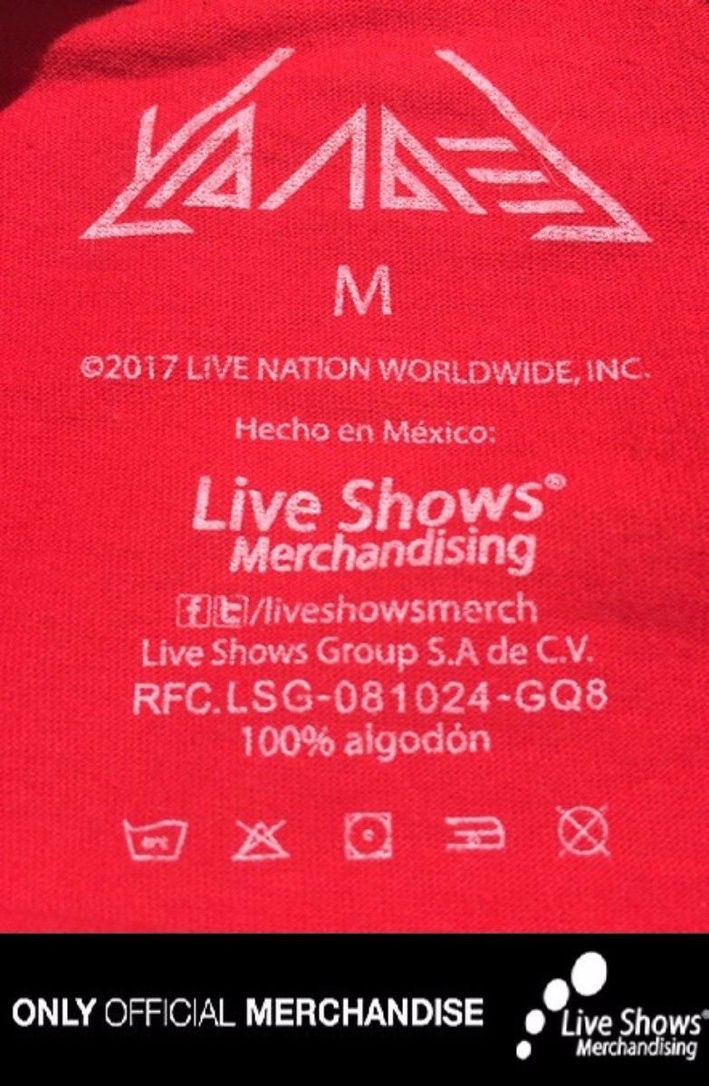 Playera Oficial YANDEL Tour 2017