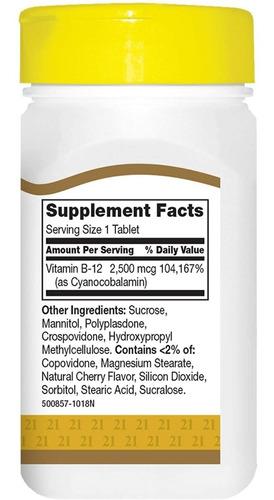 Vitamina B12 Sublingual Premium 2500 Mcg 110 Tabletas Eg B09 - Ecart