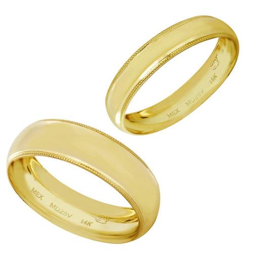 89cc1d294221 Par Argollas Matrimoniales Oro 14k Ribeteadas 4mm Y 6mm en venta en ...