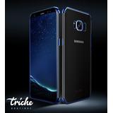 Funda Case Chapado Elegante Contorno Azul Flexible Galaxy S8