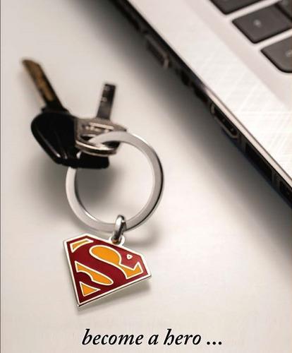 Llavero Superman Logo Dc Comics Baño De Plata