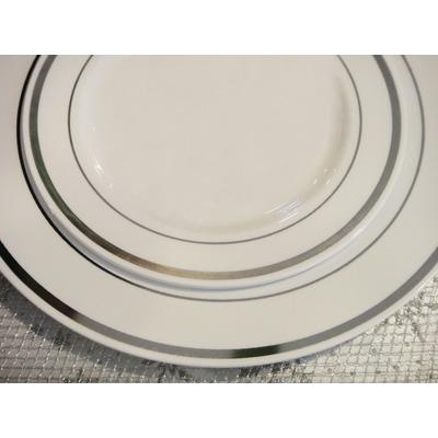 Platos blancos con plateado pl stico buffet brindis evento for Vajillas elegantes