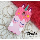 Funda Botarga Unicornio Pestañas Rosa Galaxy J4 2018 J400