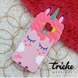 Funda Botarga Diseño Unicornio Pestañas Rosa Galaxy S9 Plus