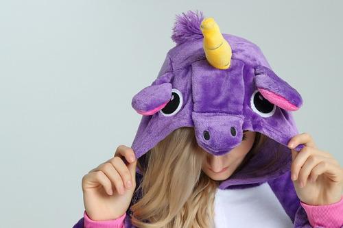 e4a2fe4d23 ... comprar Piijama Mameluco Kigurumi Unicornio Disfraz Lila Rosa Adulto ...