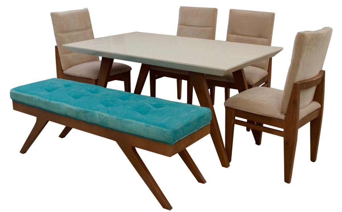 Comedor beyee fabou muebles 4 sillas y banca moderno for Comedor de madera 6 sillas