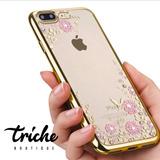 Funda Pedrería Flores Dorado iPhone 6 Plus iPhone 6s Plus