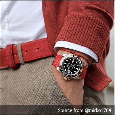 Correa Reloj Nato Perlon Roja 20 Mm Hebilla Dorada 550
