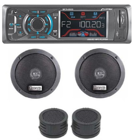 Kit Autoestereo Digital Usb Sd Am Fm Aux 2 Bocinas 2 Tweeter