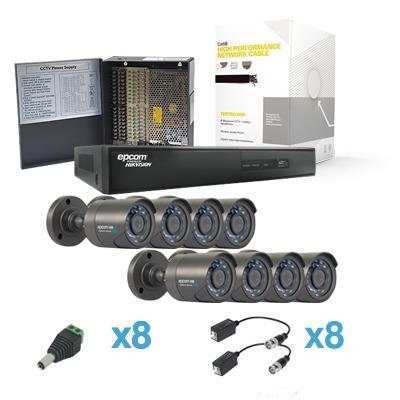 Kit Cctv 900tvl Sistema Hdx Cctv 8 Cam, Dvr 8