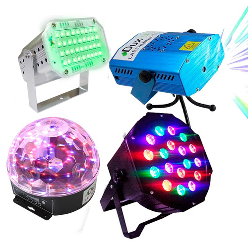 Kit Luces Disco Audio Rítmico Dj Bola Led Lasermini