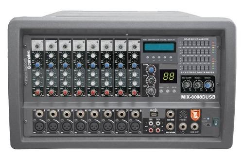 Mezcladora Amplificada 8 Canales 2200w Efectos Mp3 Eq Kaiser