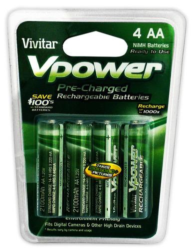 Paquete 4 Baterias Recargables Aa Vivitar Nimh